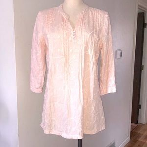 Kenar Linen Embroidered Tunic sz M Nude Color NWOT